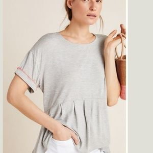 ■Anthropologie■(L) Gray Maybury Pleated Tee